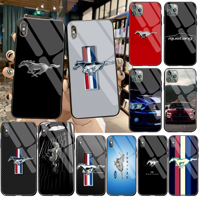 HPCHCJHM Ford Mustang Logo Soft black Phone Case Tempered Glass For iPhone 11 Pro XR XS MAX 8 X 7 6S 6 Plus SE 2020 case image