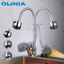Oliniaก๊อกน้ำอ่างล้างจานโลหะผสมสังกะสีเดี่ยว360 ° หมุนร่วมสมัยยอดนิยมCold & Hot WaterความสะดวกสบายOL8095W