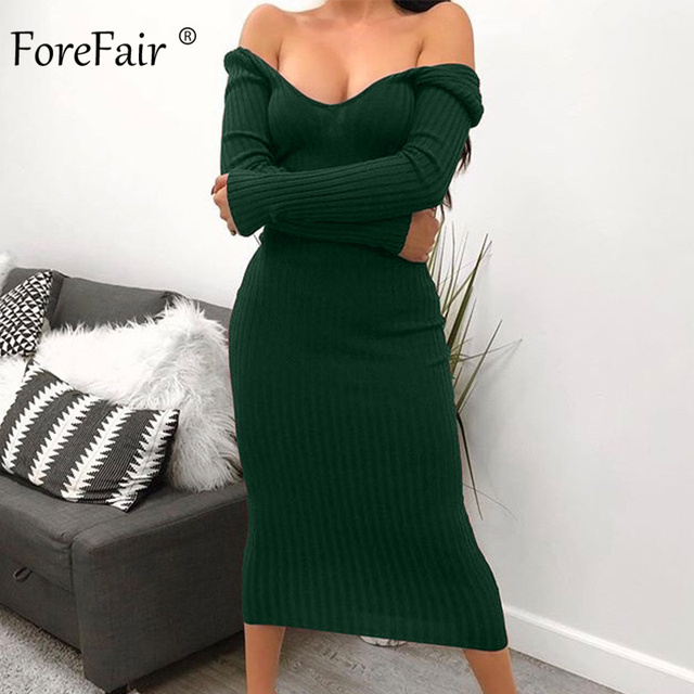 Forefair Long Sleeve V Neck Bodycon Ribbed Knit Dress Women Autumn Winter Solid Slim Midi Women Dress 2