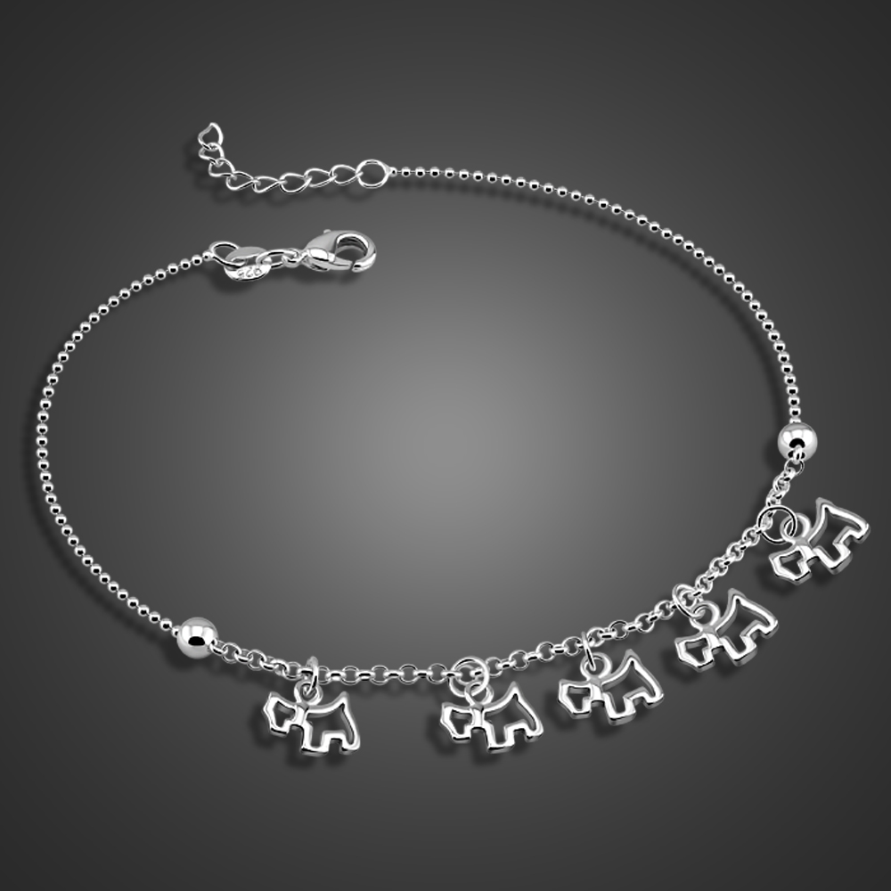 Cute Dog pendant Anklets 100% 925 Sterling Silver for Women & Girl Foot Jewelry Summer Beach Barefoot Sandals Bracelet