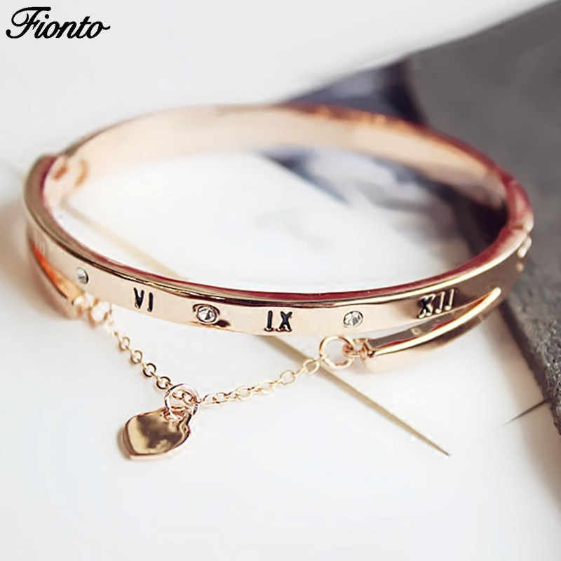 FIONTO Hot Luxury Rose Gold Stainless Steel Bangles Female Heart Forever Love Brand Charm Bracelets Women Jewelry CE0851/5