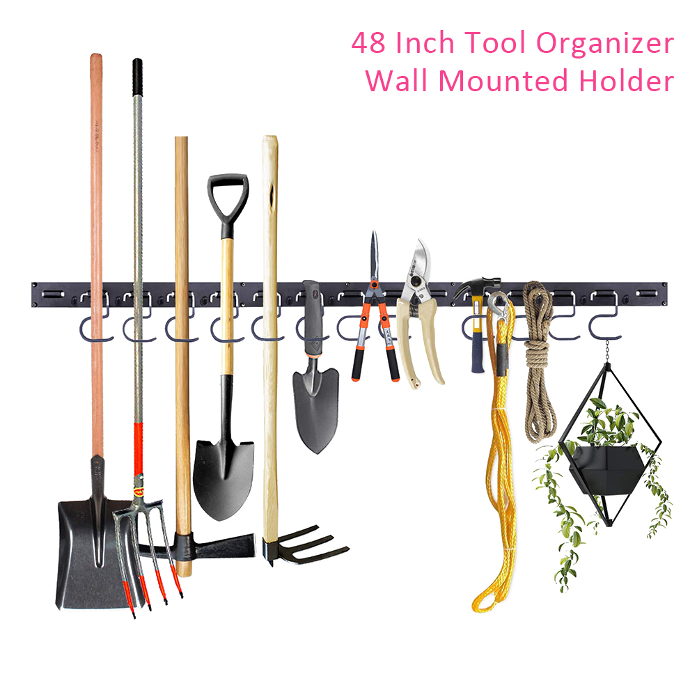 48 Inch Strong Bearing Hook Garage Storage Galvanized Wall Mounted Durable Workshop ABS Brooms Hanging Tool Organizer Holder