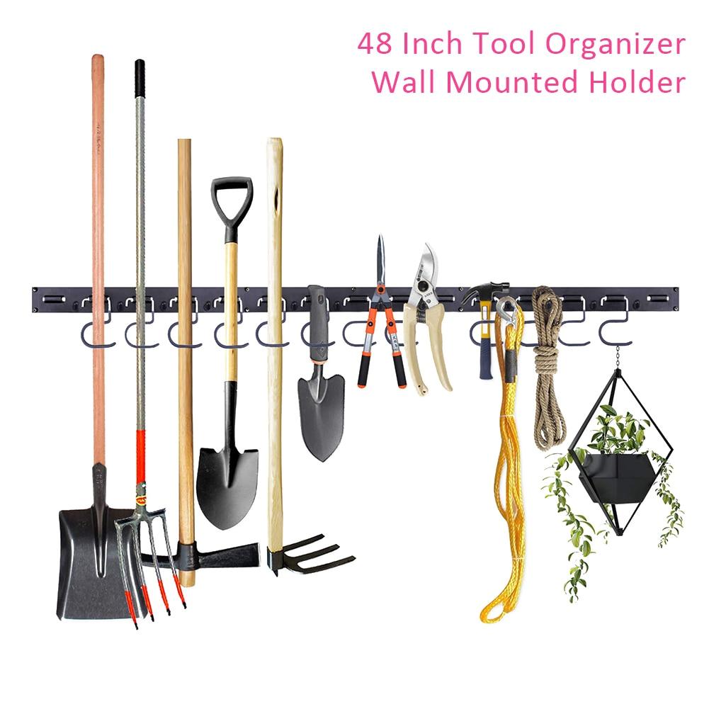 48 Inch Strong Bearing Hook Garage Storage Galvanized Wall Mounted Durable Workshop ABS Brooms Hanging Tool Organizer Holder