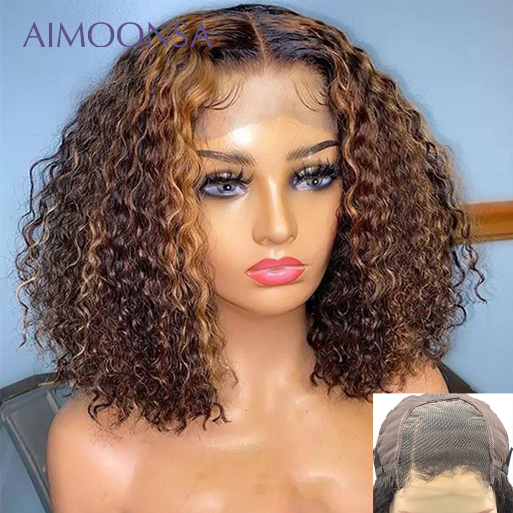 Highlight Mongolian Kinky Curly 4x4 Lace Closure Wig 150 Density Wig Ombre Bob Wig Natural Hairline Human Hair Closure Wigs Remy