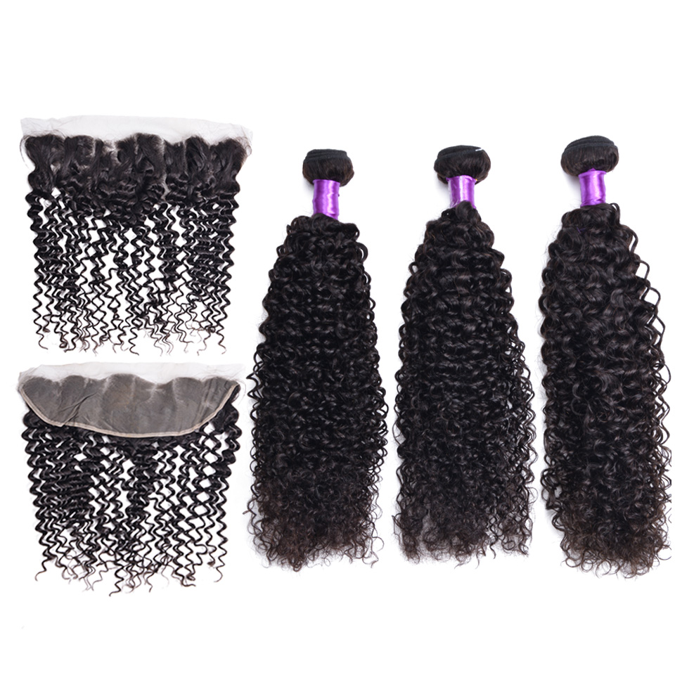 Curly Bundles With Frontal Closure Brazilian Human Hair Weave Bundles Non-Remy 3 Bundles With Frontal Hair Extension