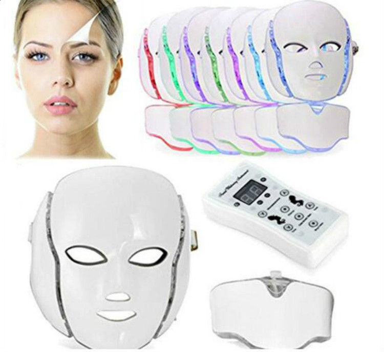 LED Light Therapy Face Neck Skin Care Facial Machine 7 Colors PDT  Mask Skin Whitening Skin Rejuvenation