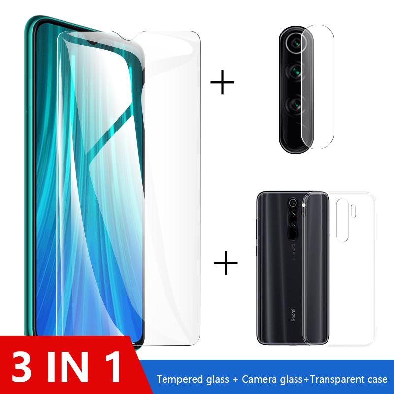 3-in-1 Case + Camera Glass For Xiaomi Redmi Note 8 7 Pro Screen Protector Lens Glass On Redmi K30 7a 8a 8t Protective Glass