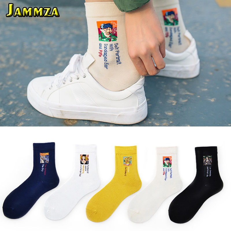 New Painting Women Cartoon Socks Cotton Letter Celebrity Graffiti Solid Soft Fashion Socks Europe Vintage Simple Casual Art Sox sock