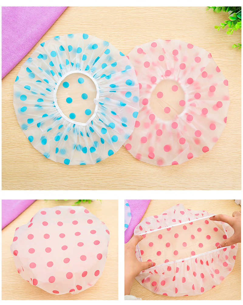Modis Tahan Air Tebal Polka Dot Shower Cap Reusable Elastis Topi Mandi Penutup Rambut Shower Cap