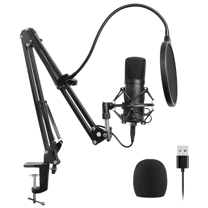 Usb Microphone Kit Usb Computer Cardioid Mic Podcast Condenser Microphone With Professional Sound Chipset For Pc Karaoke, Youtub