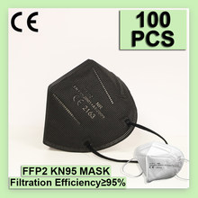 100 peças máscara preta kn95 5 camadas branco ffp2 máscaras máscara de poeira fpp2 rosto protetor fpp2 mascarillas reutilizáveis ffp2mask