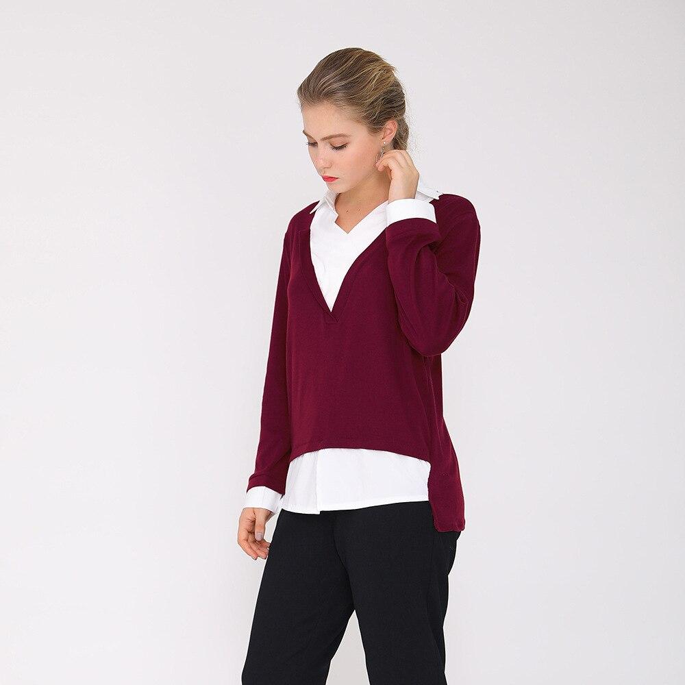 Printemps automne Blouse chemise de grande taille femmes vêtements 3XL 4XL 5XL col en V bureau dame à manches longues coton solide rouge gris S30557