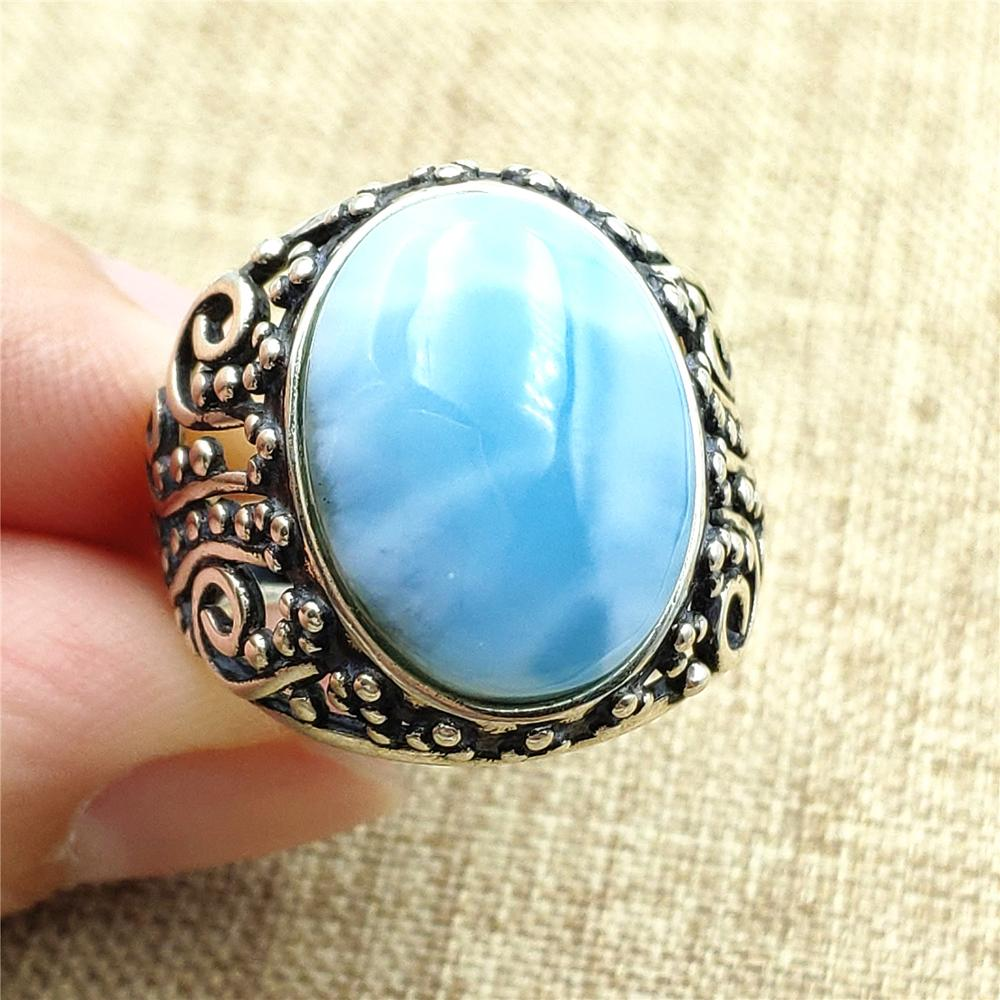 Genuine Natural Blue Larimar Ring 16x12mm 925 Silver Woman Party Gift Crystal Adjustable Ring Fashion Jewelry AAAAA