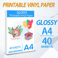 40 Sheets Self-Adhesive Printable Vinyl Sticker Paper A4 Glossy Copy Paper for All Inkjet printer for DIY Gifts Daily life Cup
