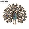 Wuli & baby, брошь в виде различные цвета большие сверкающие броши в форме павлина шпильки для Для женщин, ювелирное изделие, подарок 4 цвета знач...