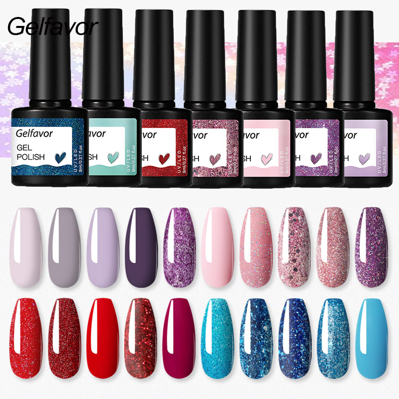 Gelfavor Gel Polish Manicure Set For Nail Art Semi Platinum UV LED Lamp Nail Varnishes Base Top Coat Lacquer Gel Nail Polish