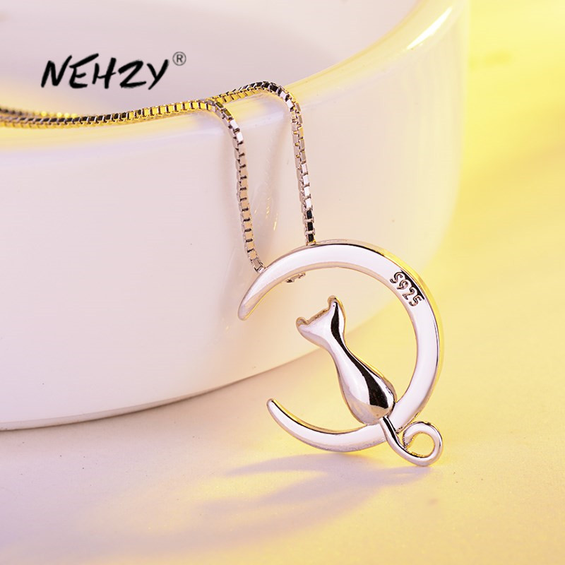NEHZY 925 Sterling Silver New Woman Fashion Jewelry High Quality Kitty Moon Retro Simple Pendant Necklace Length 45cm