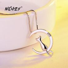 NEHZY-collar de plata de ley 925 para mujer, joyería de moda de alta calidad, gatito, Luna, Retro, colgante Simple, 45cm de longitud