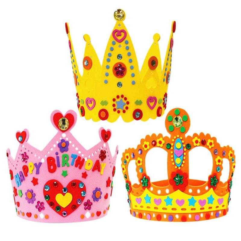 DIY Craft EVA Crown Creative Diamond Painting Crown Hat For Children Kindergarten Art Party Decorations Gifts