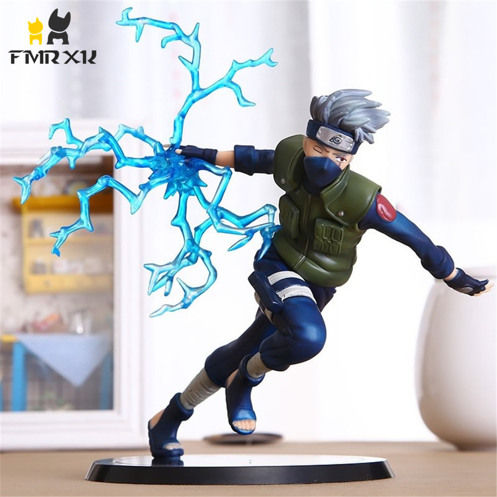 FMRXK 22cm Naruto Kakashi Sasuke PVC Action Figure Anime Puppets Toys Model Desk Collection For Kits Children