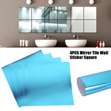 4pcs/set Mirror Wall Stickers Decal Self-adhesive Tiles Mirror Stickers 3D Mirror Wall Art Home Decors Square Wall Decal