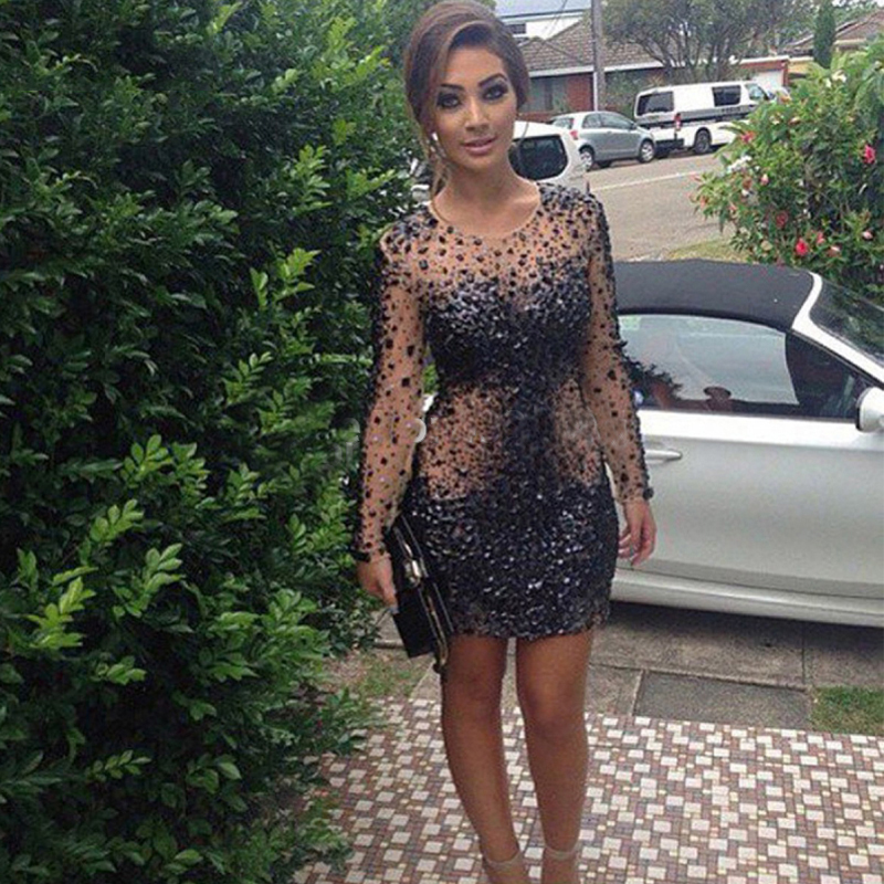 Sexy Black Long Sleeves Prom Dress Short 2019 Beads Crystal See Through Mini Formal Dress Party Evening Dress Robe De Soiree