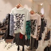 Sueter Mujer Patchwork Knitted Mohair Sweaters Women Pullovers O Neck Leopard Print Sweater