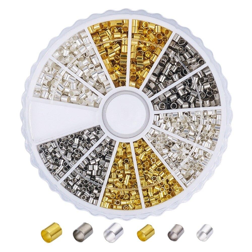 Tubo de plata esterlina 50 Perlas de crimpado 2x1mm hallazgos