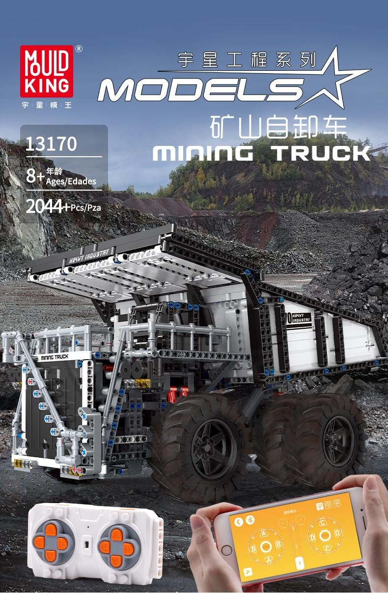 MOULD KING 13170 Compatible 29699 Technic Liebher Terex T284 Mining Excavator Dump Building Block (2044PCS) 1
