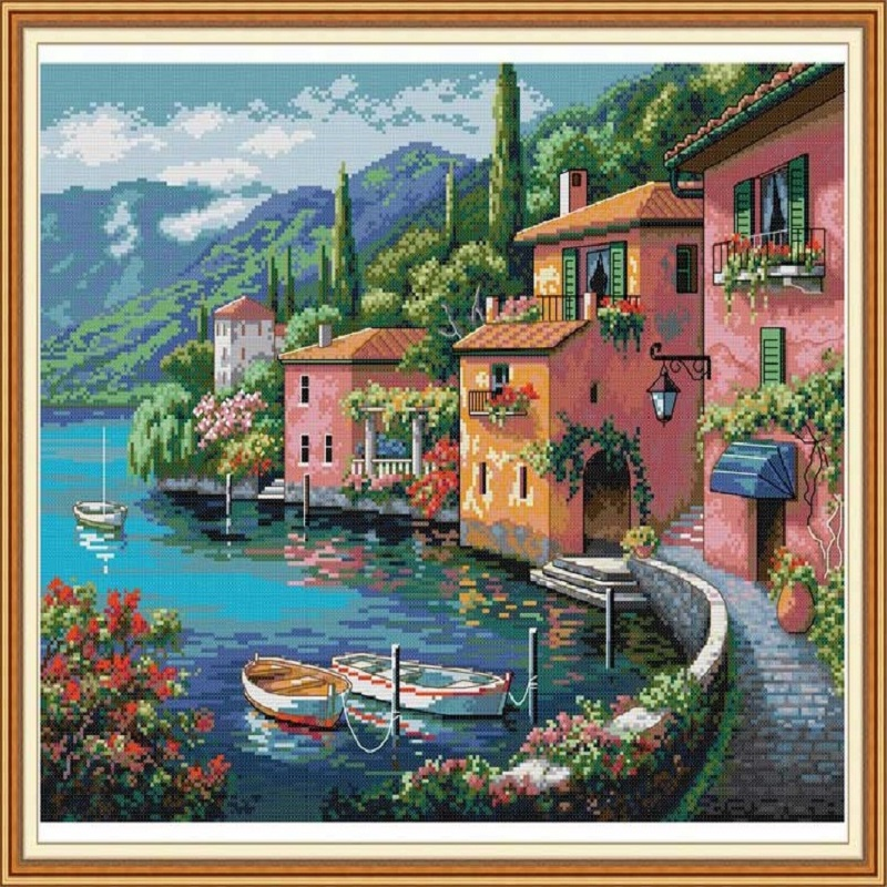Colorful House By The Water Cross Stitch Embroidery Set DMC Needlework Handicrafts Cross-Stitch Kits Home Decoration Accessories