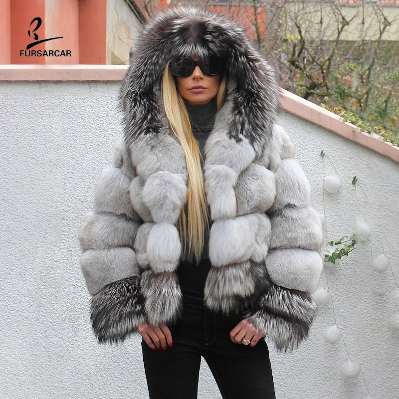 FURSARCAR Grey Ombre Blue And Silver Fox Fur Coat For Women Natural Genuine Fur Jacket With Hooded 2019 New Fashion Winter Coats