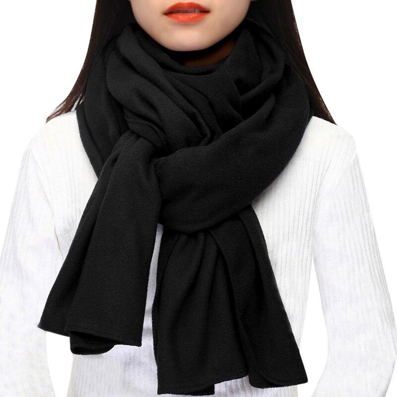 New Fashion Winter Thick Warm Big Scarf Shawl Women Wraps Vintage Polar Fleece Windproof Solid Color Wild Shawl Scarves 176cm