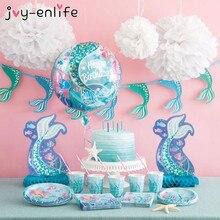 Décorations de premier anniversaire en sirène pour filles, Set de soirée avec ballons en Latex, gobelets en papier, nappe, nappe, nappe, réception prénatale