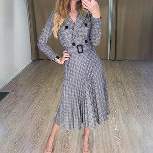 Image 3 - Aartiee Elegant 2019 Autumn winter ladies Blazer dress Button belt long sleeve dress female plaid dresses women Sexy vestidos