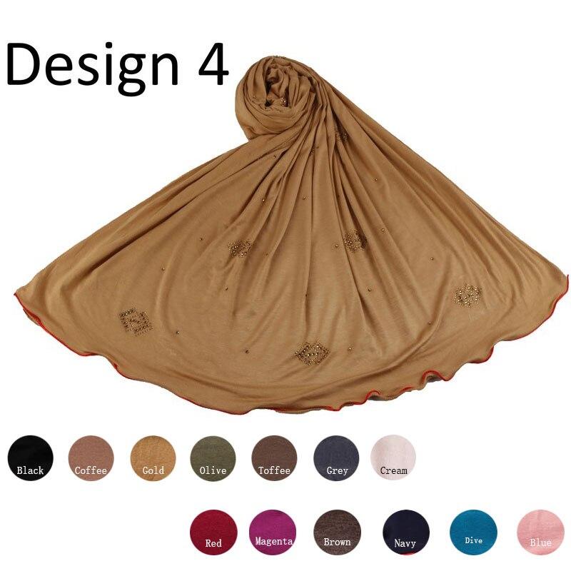Redline D4- One Side Red Line Cotton Muslim Headscarf Jersey Hijab Full Cover Cap Wrap Scarf Islamic Women Turban Head Shawls
