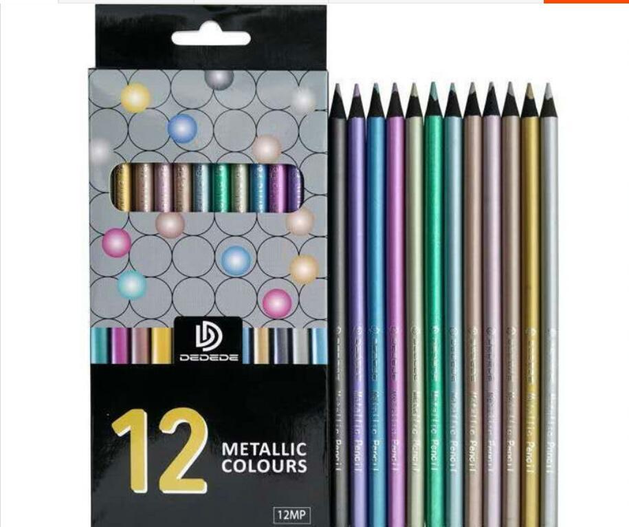12 pc/set lápis de cor Metálico цветной свинец lapis de cor lápis pintura desenho a lápis adulto da fonte da arte do metal