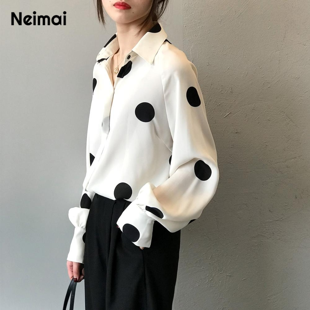 Neimai Blusas Mujer De Moda 2019 Polka Dot Chiffon Blouse White Long Sleeve Satin Blouse Tops Mujer Korean Style Women Vintage