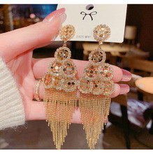 European And American Exaggerated Fashion Inlaid Tassel Long Earrings Wedding Accessories New Products Retro Nationality