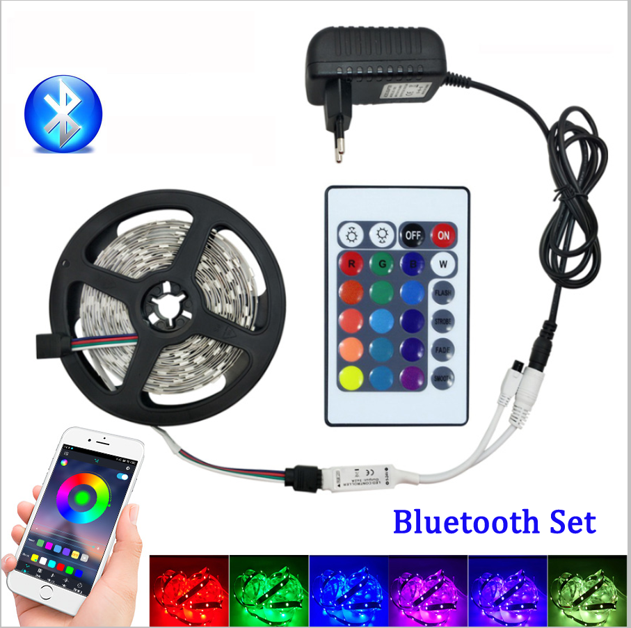 5050 LED Strip Light DC12V 2835 RGB Tape Diode Neon Ribbon Tira Fita LEDs Waterproof Flexible Strip With Adapter For Decoration