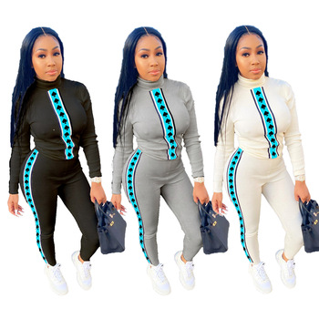 2020 Autumn Women Casual Suit Hot Style Digital Printing Top & Trousers European And American Fashion Two Piece Set women s suit europe and the united states tropical seaside beach holiday suit casual pajamas printing two piece set