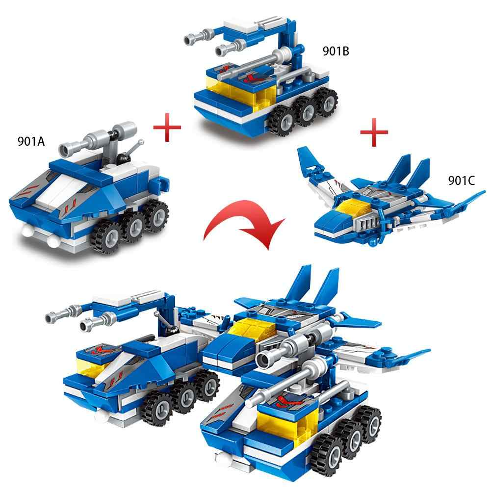6-в-1 553 шт. строительные блоки Наборы моря по суше и по воздуху-робот-трансформер Совместимость военные строительные блоки игрушки