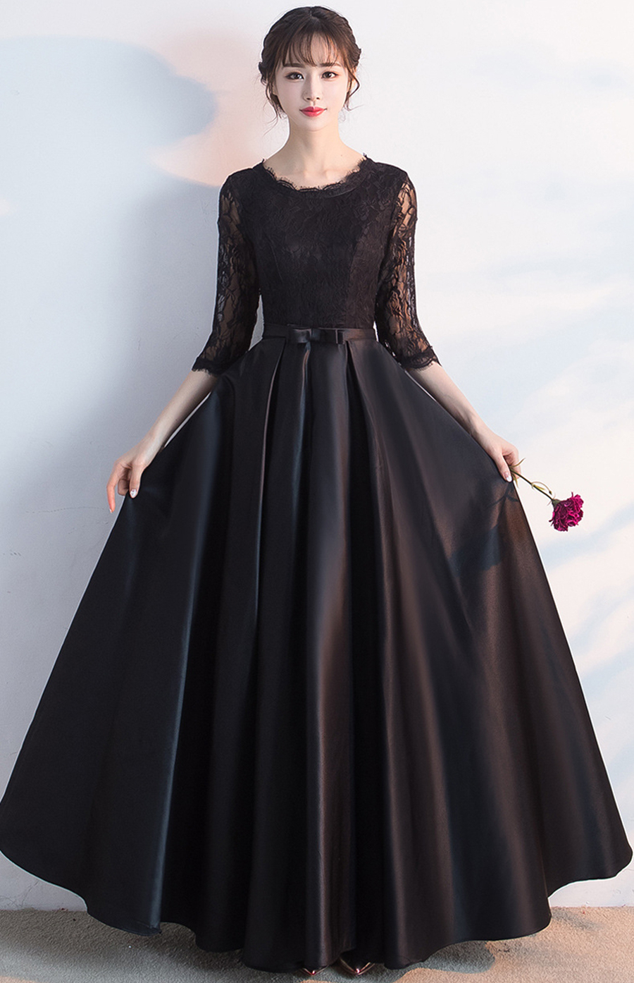 New Half Lace Sleeve O neck Sexy Evening Dresses 2020 Black Belt Decoration Fashion Luxury Formal Royal Evening Gown For Women