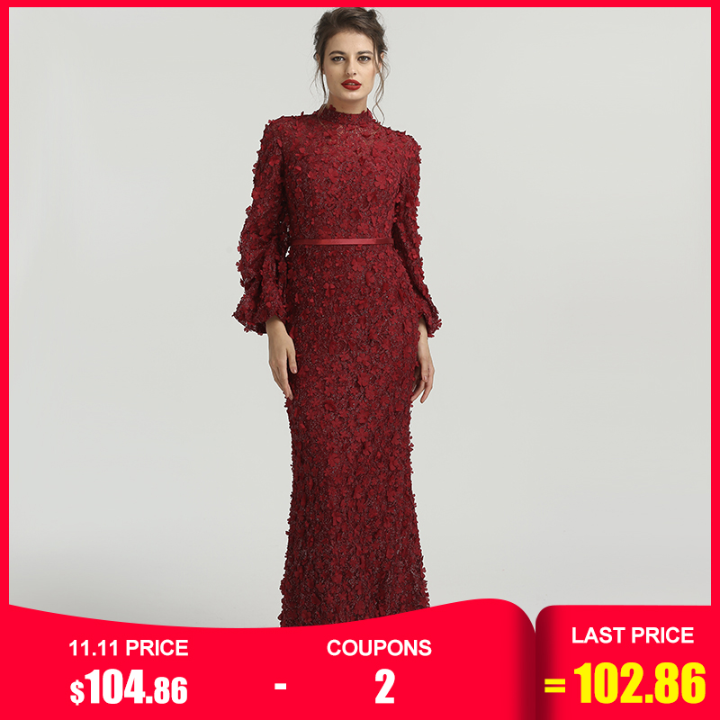 Flowers Pearls Long Sleeves Mermaid Evening Dresses Muslim Fashion Elegant  Evening Gowns 2019 Serene Hill Plus Size LA6293