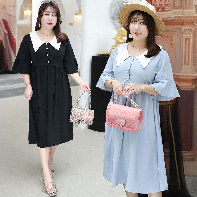2019 Early Autumn New Style Large GIRL'S Size Plus-sized WOMEN'S Dress By Age Sisters Outfit Half-sleeve Shirt Full Body Dress X