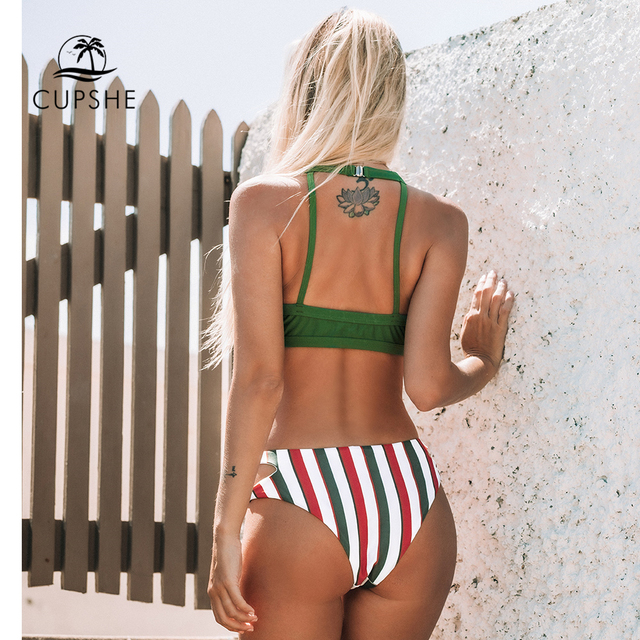 CUPSHE Green and Stripe Cut Out Bikini Sets Sexy Mid-waisted Halter Swimsuit Two Pieces Swimwear Women 2020 Beach Bathing Suits 2