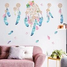 Ловец снов перьевой клейкой бумаги INS-style Гостиная Спальня прикроватный фон наклейки на стену сказочные украшения комнаты