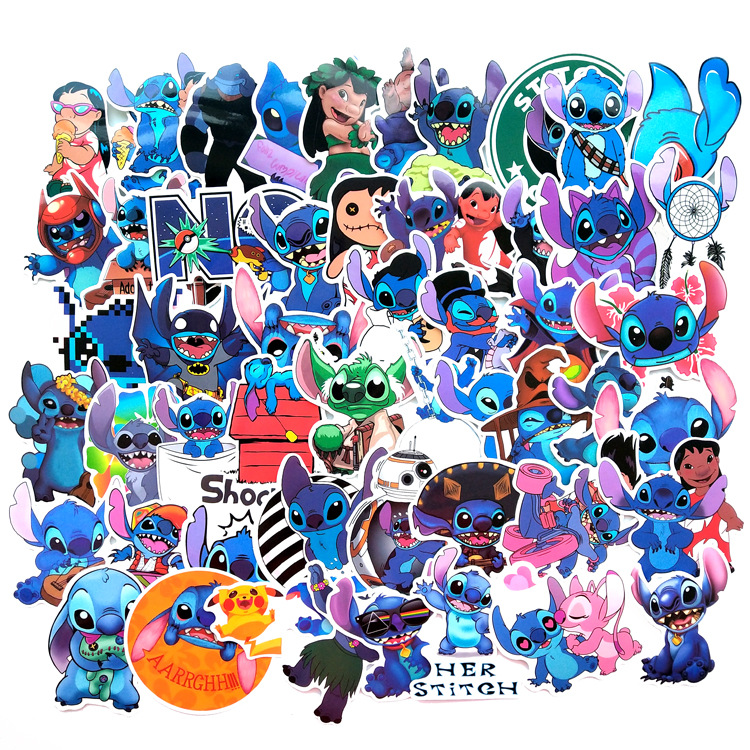 52Pcs Classics Sticker Stitch Cute Cartoon Stickers Scrapbooking Stickers For Luggage Laptop Notebook Car Motorcycle Toy Phone