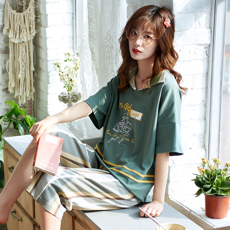 Japanese-style New Style Pajamas Female Summer Short Sleeve Capri Pants Pure Cotton Cute Tracksuit Spring And Summer Cartoon Hal