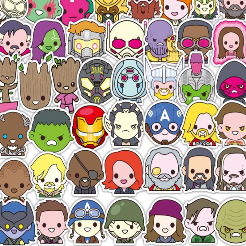 50PCS Marvel Super Hero Stickers No Repeating Mixed Cartoon Trunk Bike Motorcycle Phone Laptop Travel Luggage Waterproof Sticker