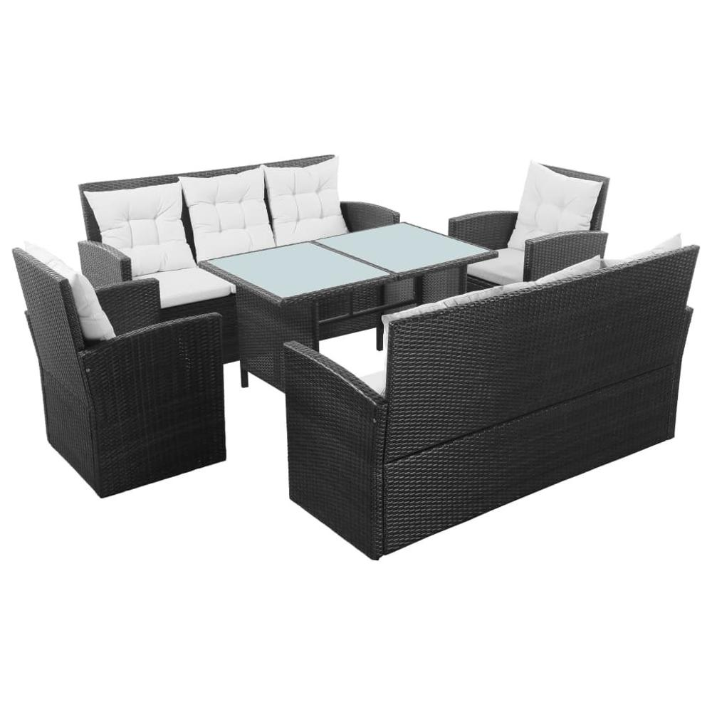 【USA Warehouse】5 Piece Garden Lounge Set With Cushions Poly Rattan Black
